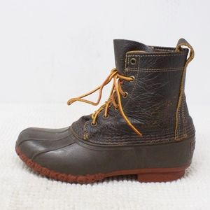 LL Bean RARE Brown Red Duck Boots 8 Inch Size 9 M
